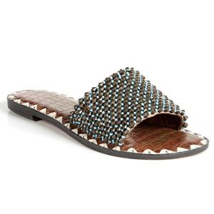 New Sam Edelman Gunner Beaded Slide Sandal sz. 7.5
